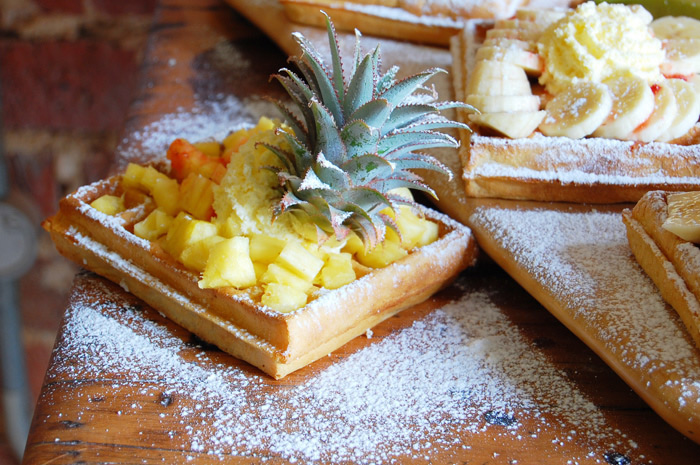 The best traditional Belgian Brussels Waffles in Cape Town served with fresh fruits